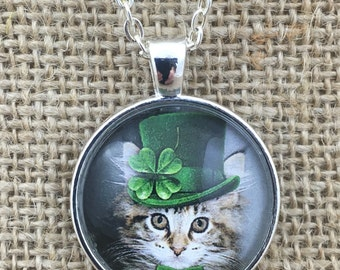 Shamrock Kitten - Top Hat - St. Patrick's Day - Glass Pendant Necklace  with Chain