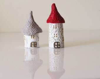 Miniature houses set 2 - Ceramic mini houses -Fairy house - Clay house - Fairy garden houses - Tiny house  -Christmas gift -Stocking stuffer