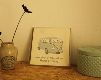 Birthday Card - Vintage Car - VW Camper