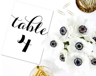Table Numbers, Printable Table Numbers, Wedding Table Numbers, 4x6, 5x7, 8x10, 1-40, Instant Download, Weddings, Reception Tables, WBWD3