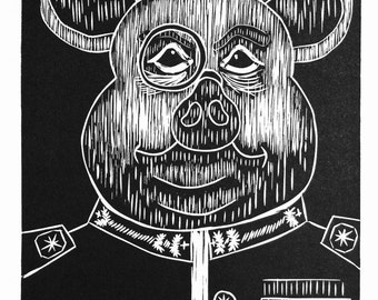 Graphic print, black and white, art, ink, Pig - Animal Farm - General, Pig series, Linocut, Fine art print, Relief print, limited edition