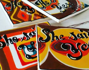 Hand painted seventies style Wedding gift drinks coasters