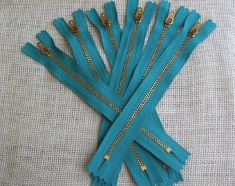 Teal Blue Metal Zippers Set of SIX YKK Metal Zippers Closed Bottom 7 Inch Metal Zipper Sewing Notion Purse Tote Bag Craft NotOnlyButtons