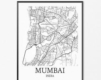 Mumbai Map Art Print, Mumbai Poster Map of Mumbai Decor, Mumbai Map Art, Mumbai Gift, Mumbai India Art Poster