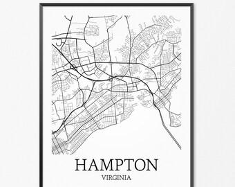 Hampton Map Art Print, Hampton Poster Map of Hampton Decor, Hampton City Map Art, Hampton Gift, Hampton Virginia Art Poster