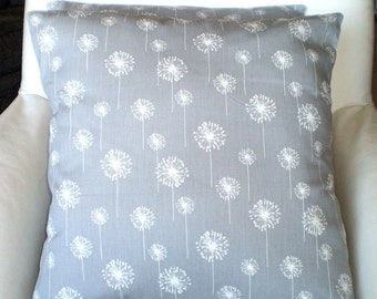 Gray Dandelion Pillow Cover, Decorative Throw Pillows, Cushions, Storm Grey, Couch Bed Pillows, Euro Sham, Cushions, One or More All Sizes