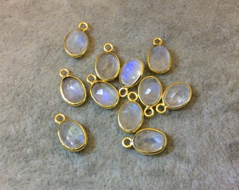 Gold Vermeil Pointed/Cut Stone Faceted Oval Shaped Moonstone Bezel Pendant Component - Measuring 6mm x 8mm - Natural Gemstone