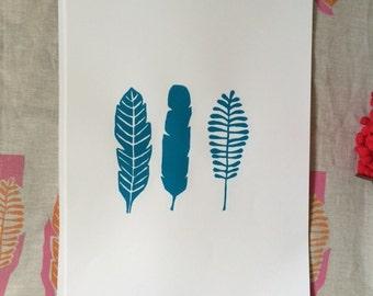 Blue leaves screen print