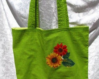 Green Gingham w/Sunflowers  lined Tote Bag/Large
