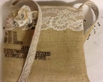 Lacey Flower Recycled Burlap Bag/ Handbag