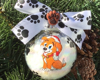 Personalized Dog or Cat with Santa Hat Christmas Ornament