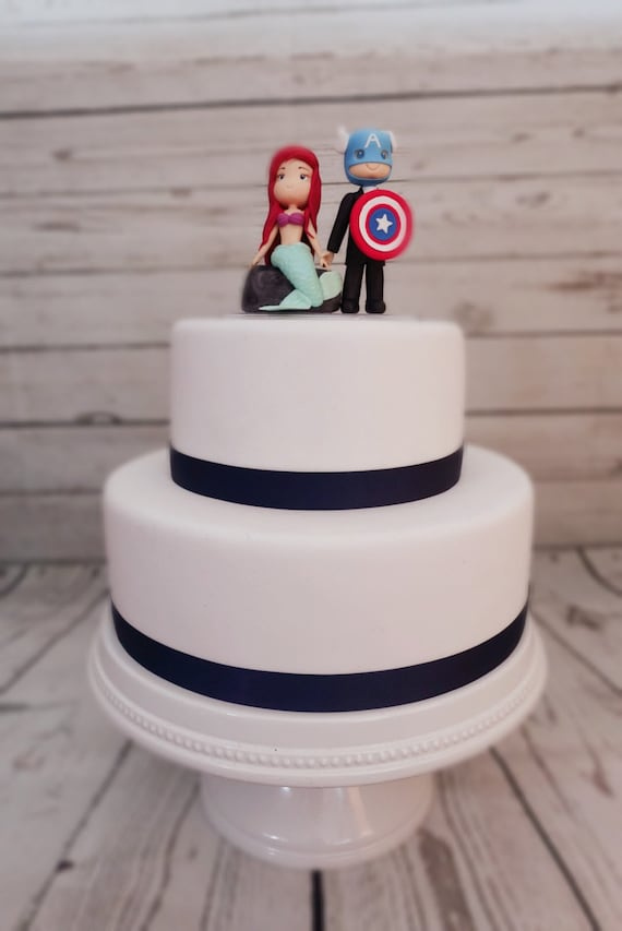 ariel little mermaid and captain america wedding cake topper. Black Bedroom Furniture Sets. Home Design Ideas