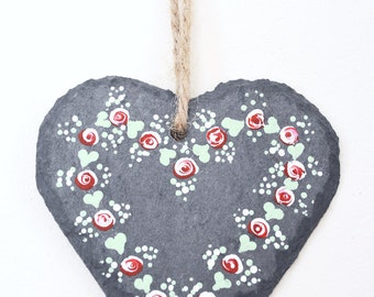 Folk Rose Hand Painted Slate Heart