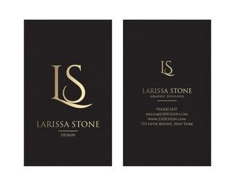 Gold & Black Business Card Design - Luxury Business Card - Premade Business Card - Printable Business - Gold Calling Card - Graphic Design