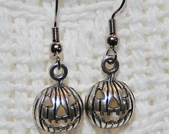 Silver Jack-O-Lantern Earrings