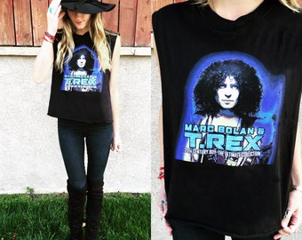 Glitter Sparkle T. Rex Marc Bolan Distressed Tank!  Women's Upcycled Rock and Roll One of a Kind Cropped Band Top Size S-M