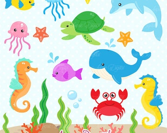 Under the Sea Clipart. Scrapbook printable Cute Sea animals Clip Art png for Commercial Use. Dolphin whale fish crab nautical graphics