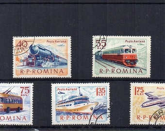 Vintage Transport Romanian 1963 used postage stamp set. Romania. Train, airplane, trolley bus. Craft supply, art project. Scan enlarged.