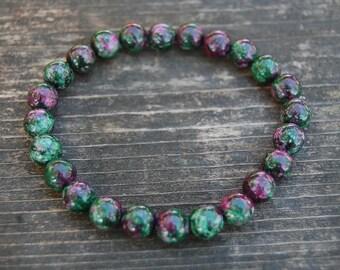 Ruby Zoisite Bracelet,8mm Gemstone Beads,Stretch Bracelet,Yoga,Mala,Prayer,Man,Woman,Energy Bracelet,Healing Bracelet,Unisex Bracelet,Gift