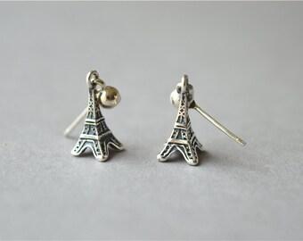 Eiffel tower 925 sterling silver solid stud earrings (D303)