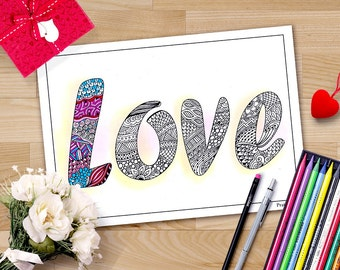 valentine coloring pages for adults, Zentangle love sign, Zentangle Valentines, printable women gift, lesbian valentine printable coloring