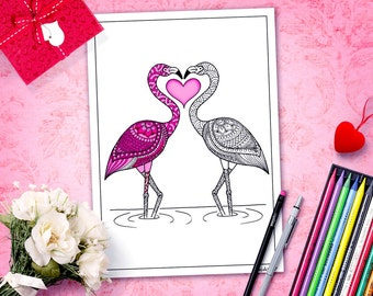 valentine's day printable adult coloring page,flamingos coloring page,DIY valentine's gift,coloriage, zentangle printable color,henna doodle