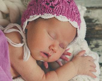Newborn photo prop knitted bonnet- pink newborn bonnet- baby bonnet- knited bonnet- knitted hat- newborn girl bonnet- knitted bonnet- pink