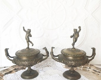 19th Century Bronze Table Urns Cherub Putti Table Urns