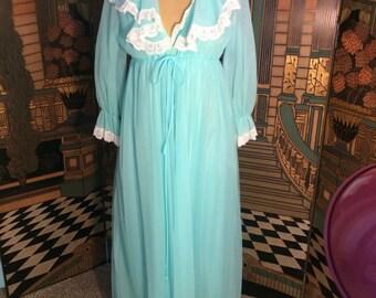 Teal Peignoir Set - vintage ladies Medium