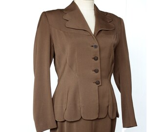 1940s Suit 40s | Womens | Gabardine | Cocoa Brown | Jacket and Skirt | Antique Clothing | Midcentury Secretary | Free Shipping