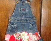"""RESERVED FOR SANDY-Toddler denim pinafore dress """"Sandy Rose"""""""