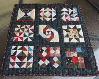 Handmade Mini Quilt Nine Block Sampler Decorative Table Topper Candle Mat Dark and Light Contrast Cotton Fabric