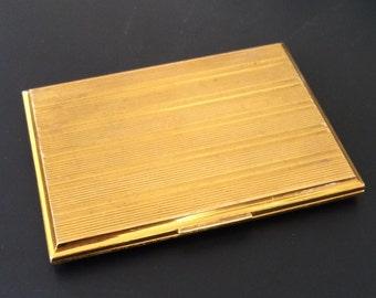 Vintage Evans Cigarette Case Business Card Case Gold Tone Stripe