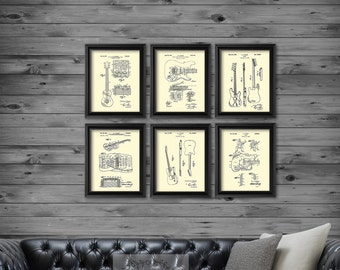 Vintage Fender Guitar Patent Art Prints Cream Wall Art set of 6 patent art prints Gift for Guitarist Music Studio Wall Decor, Musician Gift