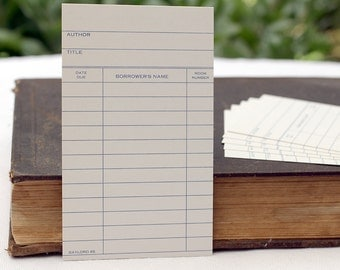 Vintage Library Cards Checkout Catalog Gift Card for the Bookworm Student Party Invitation Tag