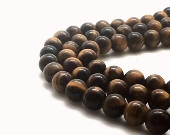 12mm Natural Tiger Eye Beads Round 12mm Tiger Eye 12mm Brown Tiger Eye Brown Gemstone 12mm Beads 12mm Gemstone 12mm Stone