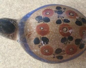 2 Hand Painted ceramic pottery folk art turtles