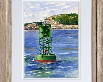 Gong Buoy on Frenchman's Bay - Bar Harbor Watercolor Painting - Maine Coastal Wall Art - Green Channel Marker