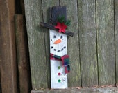 SNOWMAN Sign - Reclaimed Wood Sign, Hand-Painted, Rustic, Holidays, Winter, Christmas, Handmade, Porch Decoration, Small skinny snowman