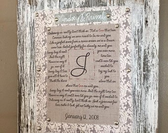 Anniversary Gift- Framed Wedding Song