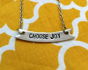 Hand Stamped Pewter Choose Joy Necklace