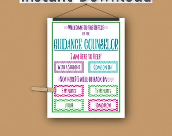 School Guidance Counselor Print//Instant Download//Printable//Letter Size//Door Sign//Counseling//Elementary/Middle School