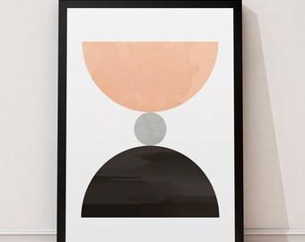Home decor, Abstract print, Geometric art, Watercolor abstract, Pink art, Wall prints, Minimalist art, Scandinavian print, Wall art