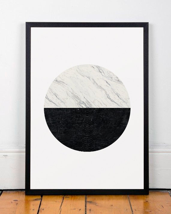 Minimalist print marble print geometric art by for Minimal art black and white