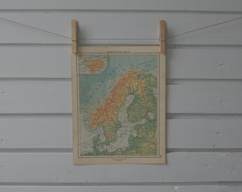1956 Vintage Map of Scandinavia