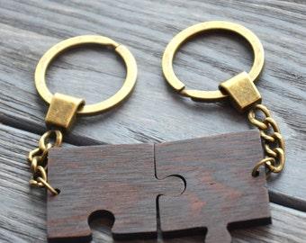 Couple Key Chain Best Friend 5th Anniversary Gift Love Wooden Keychain Puzzle Gift for Husband Wifey Girlfriend Boyfriend