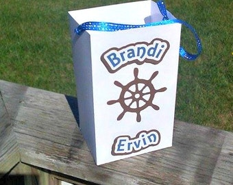 Set of 6, Nautical Wedding, Sailing Wedding, Lake Wedding, Custom Wedding Bag, Personalized, Ocean Themed Party, Boat Party, Party Bag,