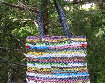 Plarn Bag/Tote Recycled-Multicolored random stripes, upcycled crocheted plarn bag/plarn tote made from plastic shopping bags
