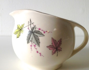Retro Creamer With Pastel Color Leaves - Green - Blue - Pink