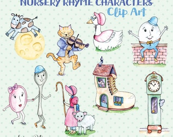 Digital Clip Art: Mother Goose Nursery Rhyme Characters | Illustrated Clipart | Scrapbooking Clip Art -NEW- 2 Seamless Patterns